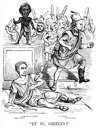 Et Tu Greeley, Cartoon charging Greeley with bringing about Seward's defeat.