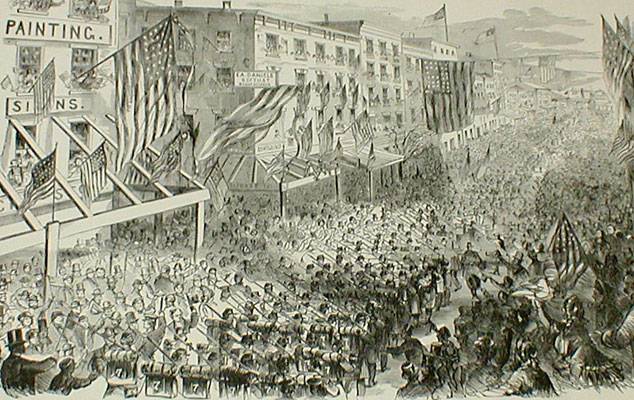 The Seventh Regiment, NGSNY Leaving New York, April 19th, 1861