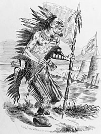 A Civil War cartoon showing James Gordon Bennett as an American Indian embellished with the Stars and Stripes