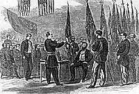 Presentation of 200 battle-flags to Governor Fenton at Albany, New York, July 4, 1865