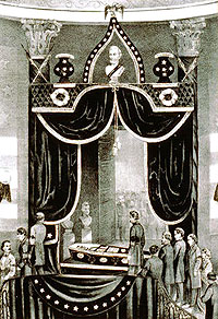 The body of the Martyr President, Abraham Lincoln: Lying in State at the city hall, N.Y.