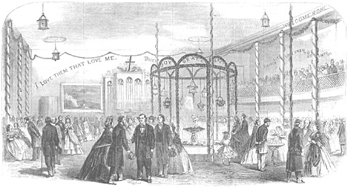 Plymouth Church Schoolroom, Brooklyn, Welcoming Back Rev. Henry Ward Beecher, Nov 17, 1863