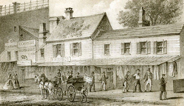 Old Houses in Chatham St. Opposite the Park, 1857