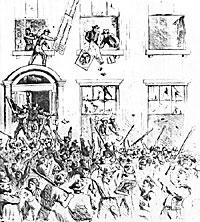 Sacking of the brownstone houses in Lexington Avenue by the rioters on Monday, July 13