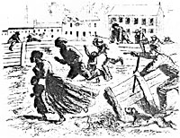 Rioters chasing negro women and children through the vacant lots in Lexington Avenue