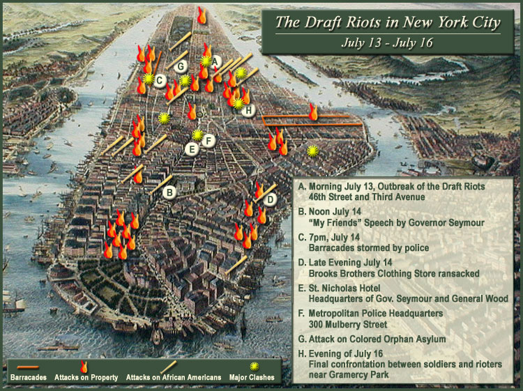 New York Draft Riots Map