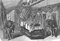 Interior of the President's Funeral Car, with the Coffin and Guard of Honor