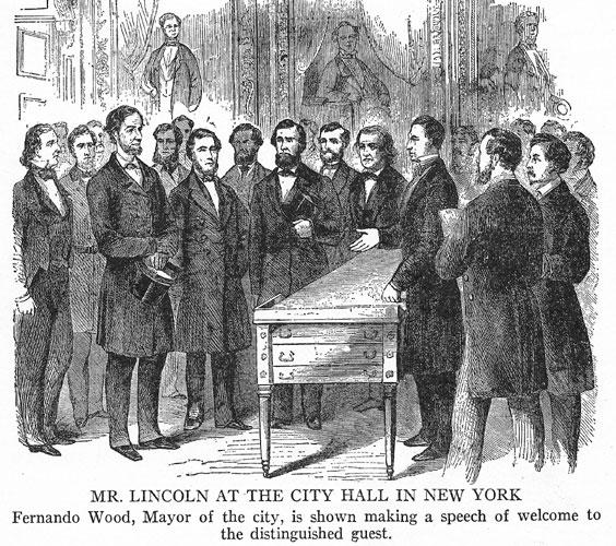 Reception of President Lincoln by Fernando Wood