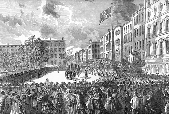 Presentation of Colors to the Twentieth United States Colored Infantry at Union Square New York, March 5, 1864