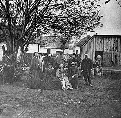 Nurses and other officers of the U.S. Sanitary Commission at Fredricksburg, Virginia.