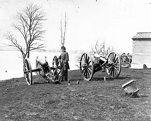Gen. Daniel E. Sickles in Front of Two Wiard guns at the Arsenal; Washington, D.C.