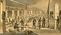 Interior of the State Arsenal 57th Street, Occupied by the 7th N.Y.V. (Steuben Regiment) 1861
