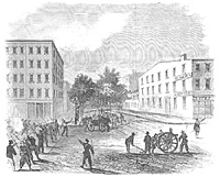 Schiemer's Battery and a Company of the 11th NYV Scattering the Rioters at the Corner of 7th Avenue and 28th Street