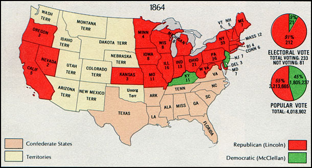 Map of the Presidential Election of 1864