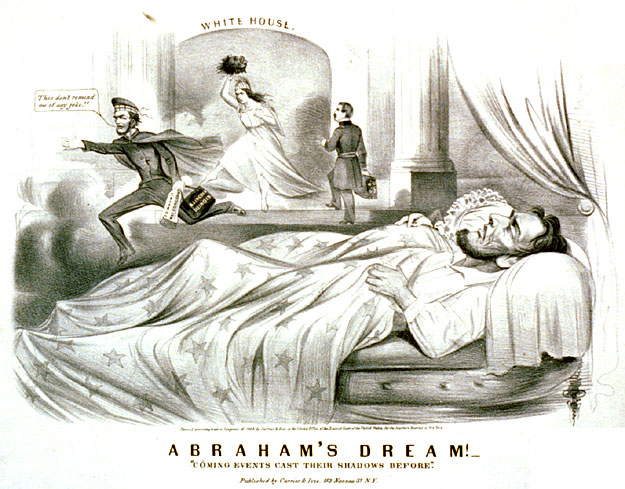 The artist portrays a President tormented by nightmares of defeat in the election of 1864